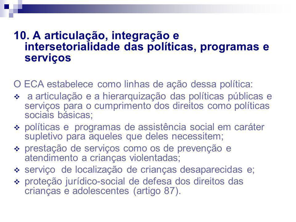 10. A articulação, integração e intersetorialidade das políticas, programas e serviços O ECA estabelece como linhas de ação dessa política: a articula