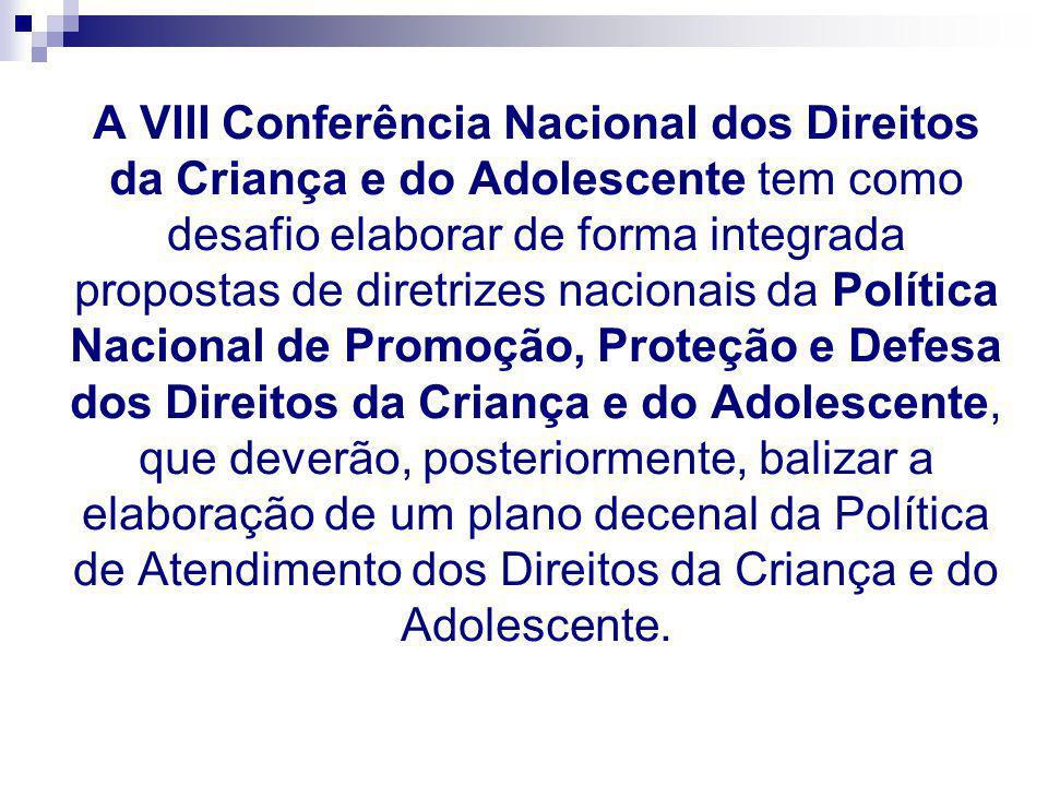 A VIII Conferência Nacional dos Direitos da Criança e do Adolescente tem como desafio elaborar de forma integrada propostas de diretrizes nacionais da