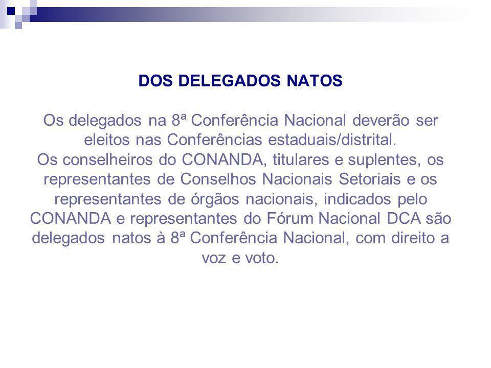 DOS DELEGADOS NATOS Os delegados na 8ª Conferência Nacional deverão ser eleitos nas Conferências estaduais/distrital. Os conselheiros do CONANDA, titu
