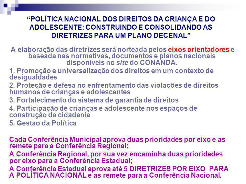 POLÍTICA NACIONAL DOS DIREITOS DA CRIANÇA E DO ADOLESCENTE: CONSTRUINDO E CONSOLIDANDO AS DIRETRIZES PARA UM PLANO DECENAL A elaboração das diretrizes