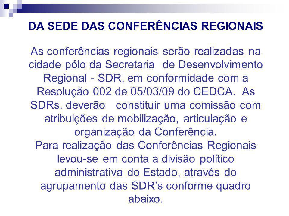 DA SEDE DAS CONFERÊNCIAS REGIONAIS As conferências regionais serão realizadas na cidade pólo da Secretaria de Desenvolvimento Regional - SDR, em confo
