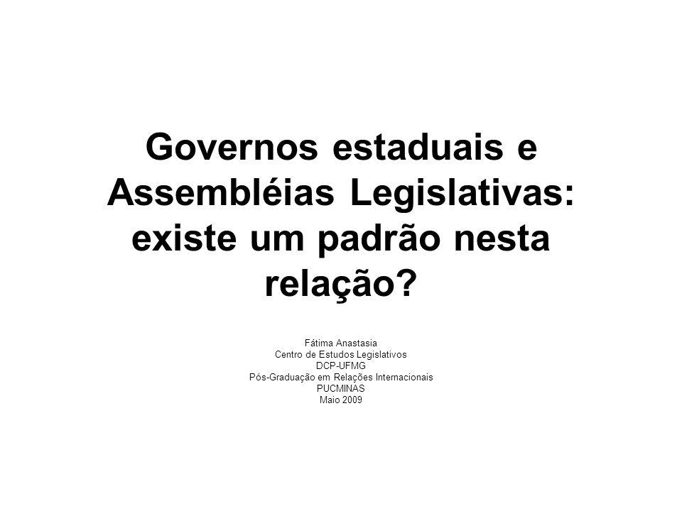 Governos estaduais e Assembléias Legislativas: existe um padrão nesta relação? Fátima Anastasia Centro de Estudos Legislativos DCP-UFMG Pós-Graduação