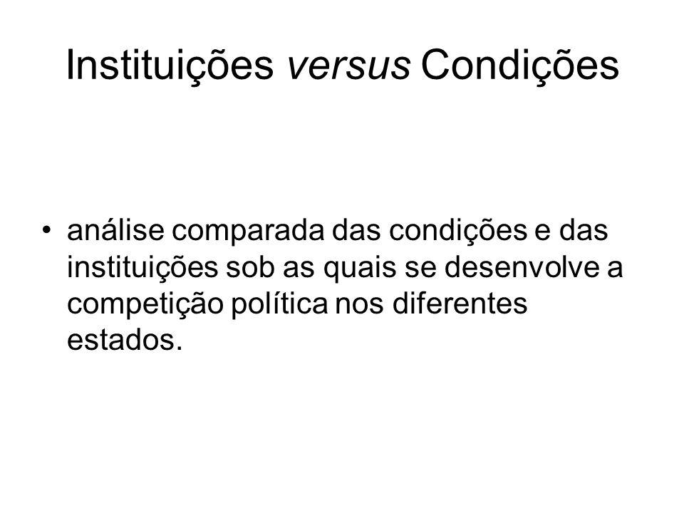 Instituições versus Condições análise comparada das condições e das instituições sob as quais se desenvolve a competição política nos diferentes estados.