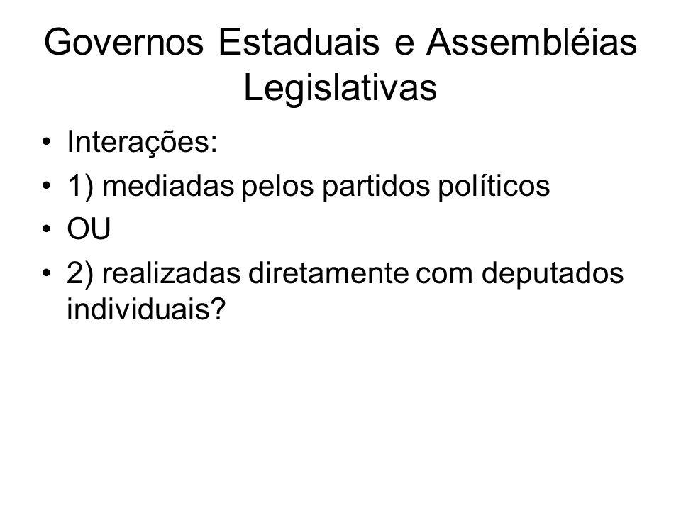 Governos Estaduais e Assembléias Legislativas Interações: 1) mediadas pelos partidos políticos OU 2) realizadas diretamente com deputados individuais?