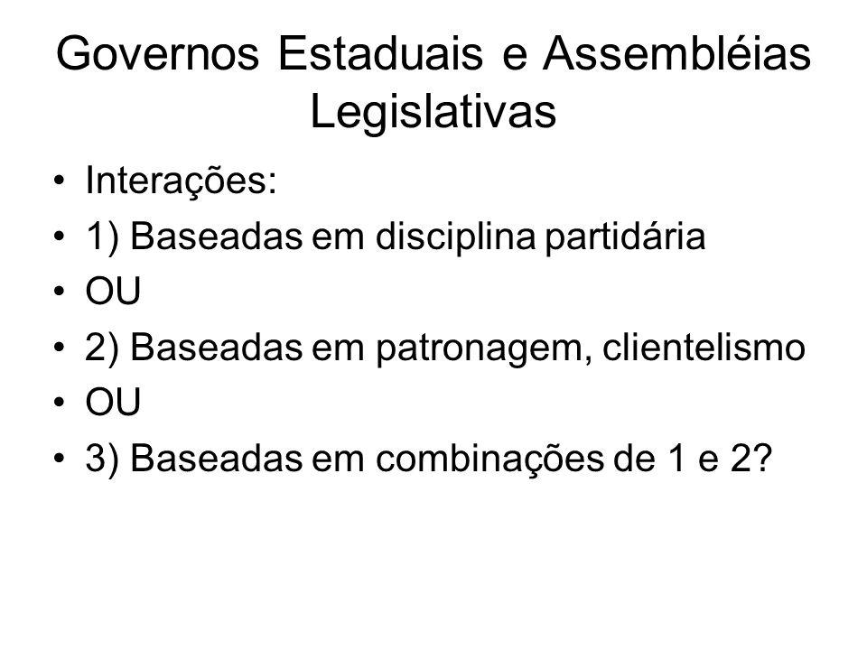 Governos Estaduais e Assembléias Legislativas Interações: 1) Baseadas em disciplina partidária OU 2) Baseadas em patronagem, clientelismo OU 3) Basead