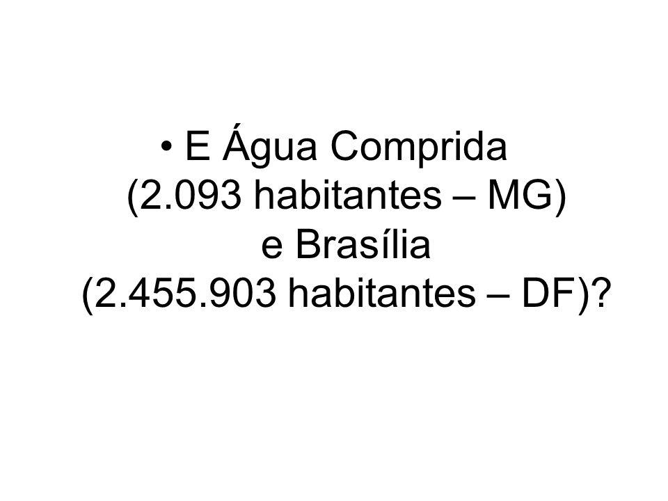 E Água Comprida (2.093 habitantes – MG) e Brasília (2.455.903 habitantes – DF)?