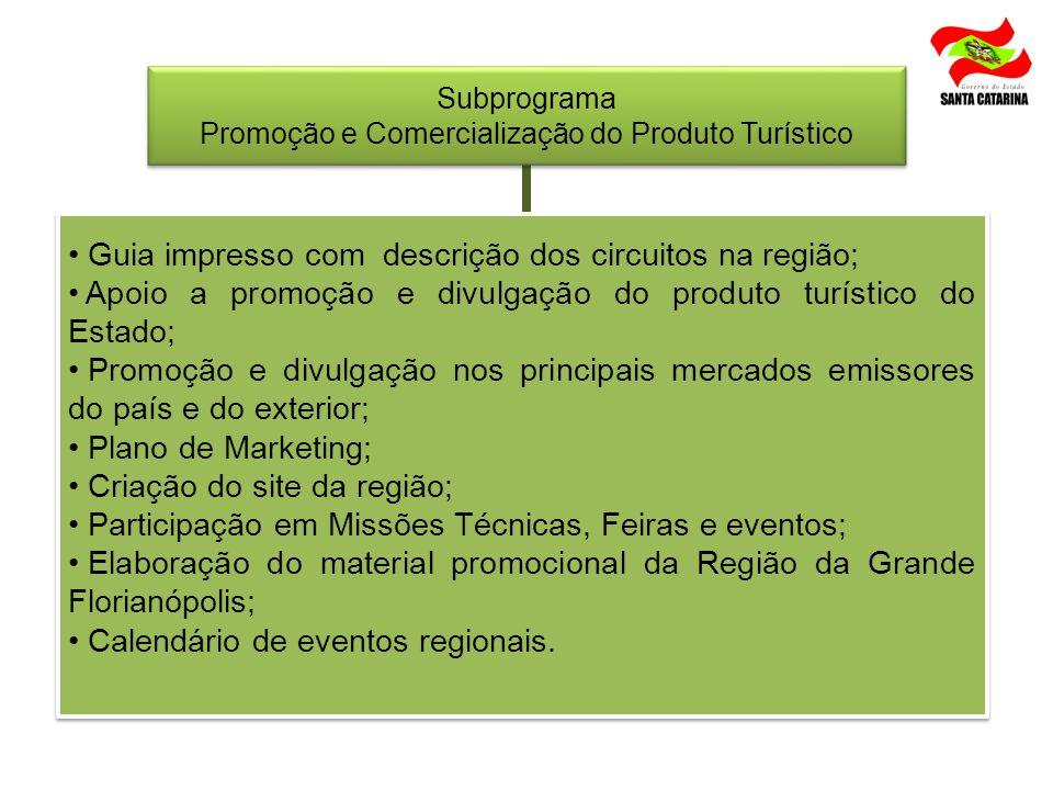 Subprograma Promoção e Comercialização do Produto Turístico Subprograma Promoção e Comercialização do Produto Turístico Guia impresso com descrição do