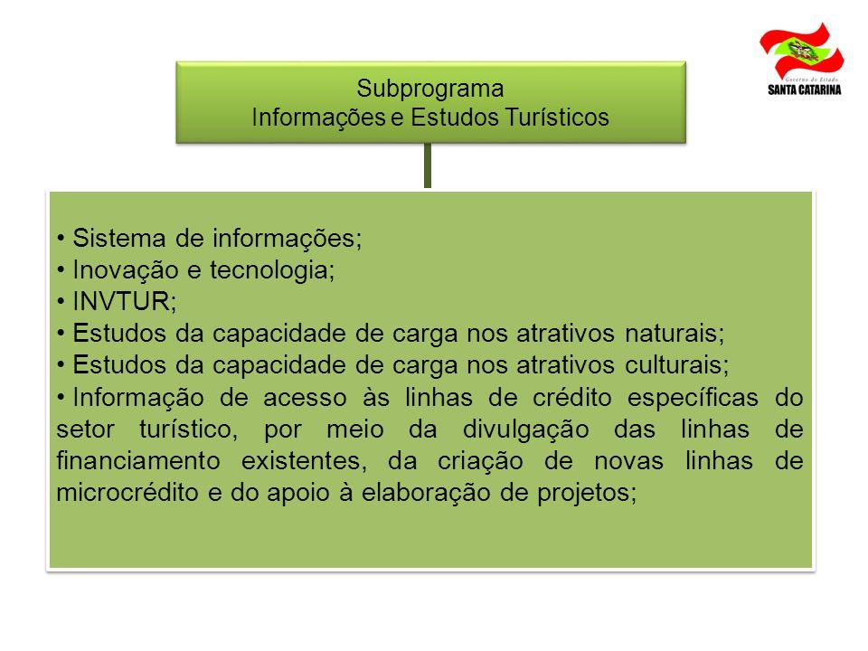Sistema de informações; Inovação e tecnologia; INVTUR; Estudos da capacidade de carga nos atrativos naturais; Estudos da capacidade de carga nos atrat