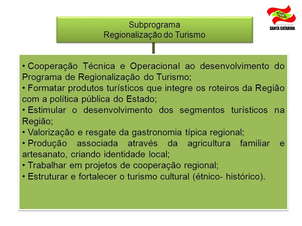 Subprograma Regionalização do Turismo Subprograma Regionalização do Turismo Cooperação Técnica e Operacional ao desenvolvimento do Programa de Regiona