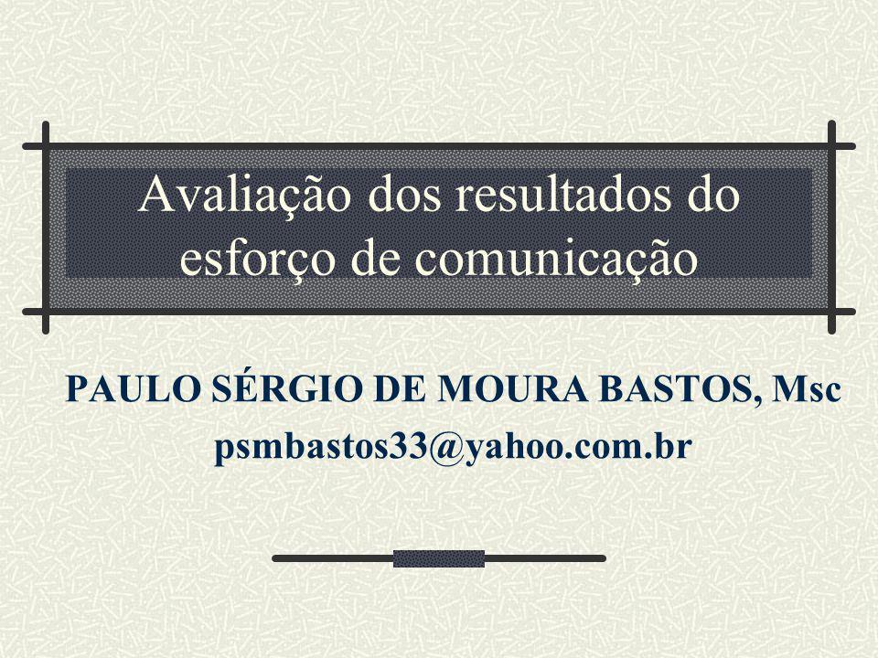 Avaliação dos resultados do esforço de comunicação PAULO SÉRGIO DE MOURA BASTOS, Msc psmbastos33@yahoo.com.br