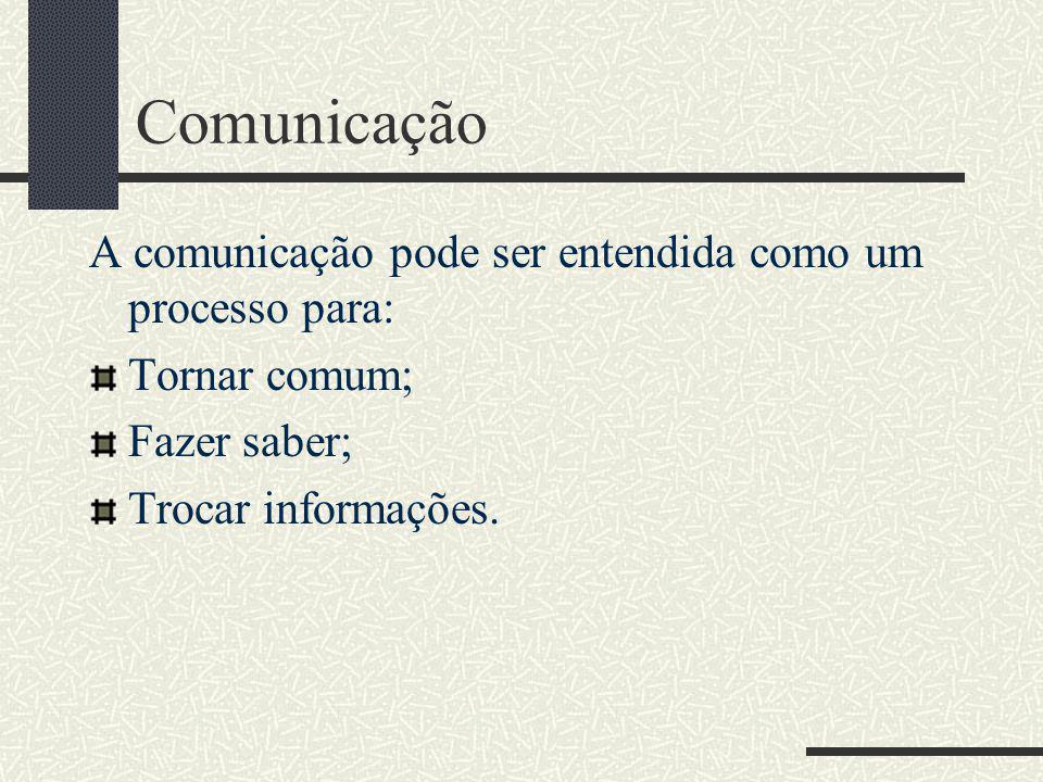 Comunicação A comunicação pode ser entendida como um processo para: Tornar comum; Fazer saber; Trocar informações.
