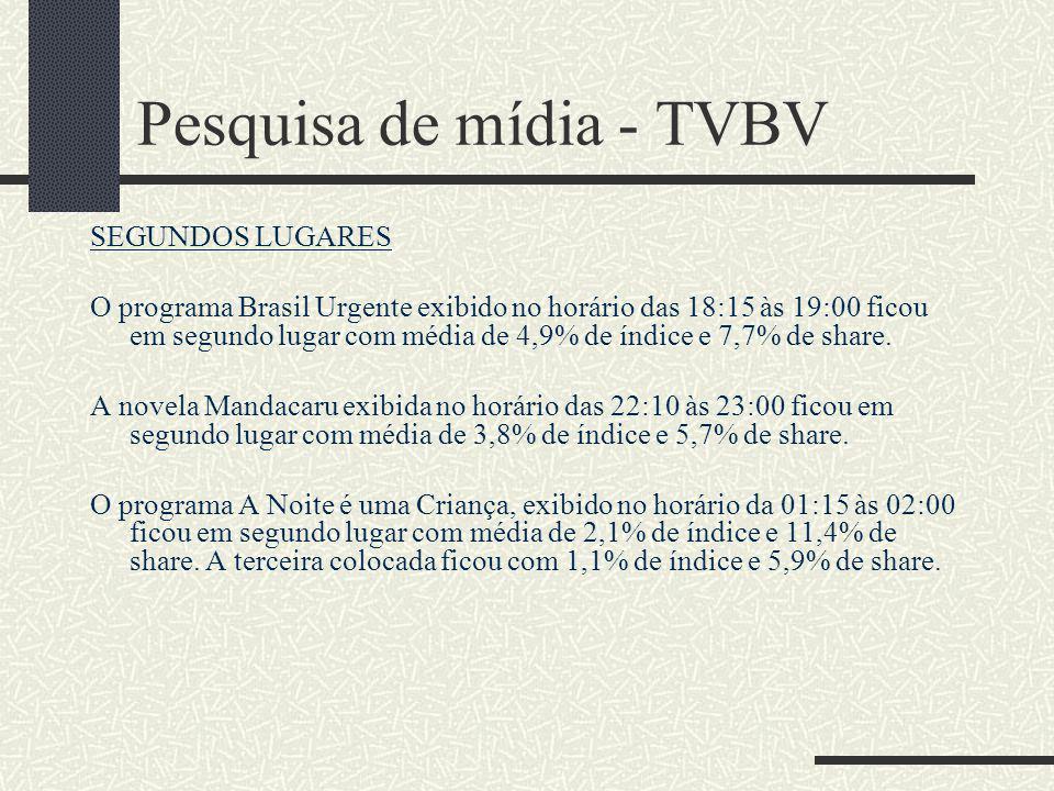 Pesquisa de mídia - TVBV AUDIÊNCIA DIÁRIA IBOPE – 05/06/06 – SEGUNDA-FEIRA DESTAQUES DO DIA Esporte Total 1ª Edição ficou em segundo lugar no horário