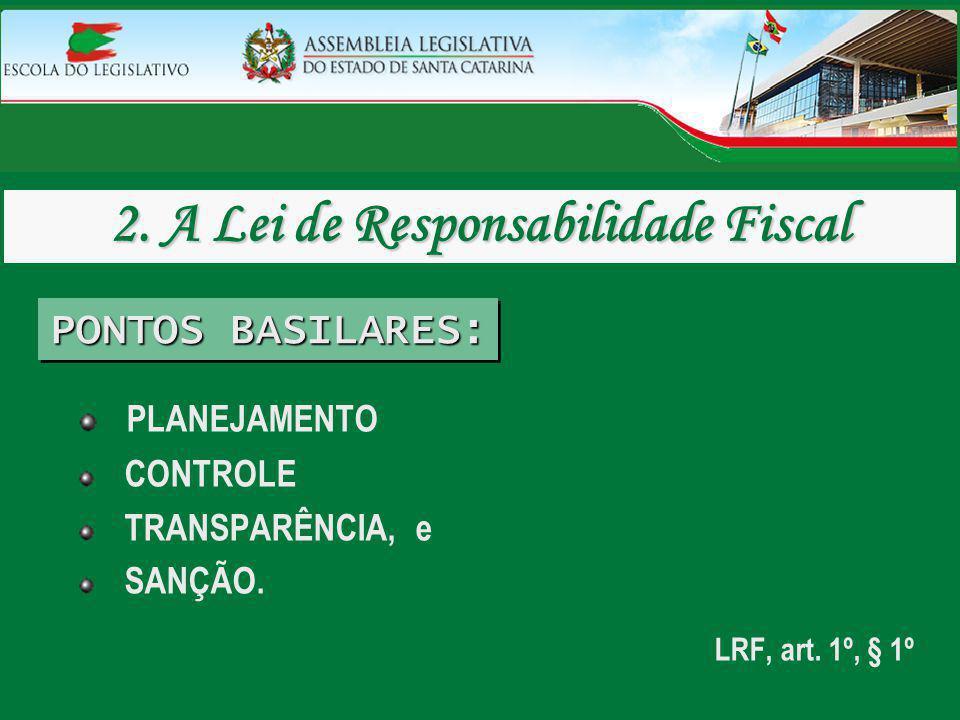 PLANEJAMENTO CONTROLE TRANSPARÊNCIA, e SANÇÃO. LRF, art. 1º, § 1º 2. A Lei de Responsabilidade Fiscal PONTOS BASILARES: