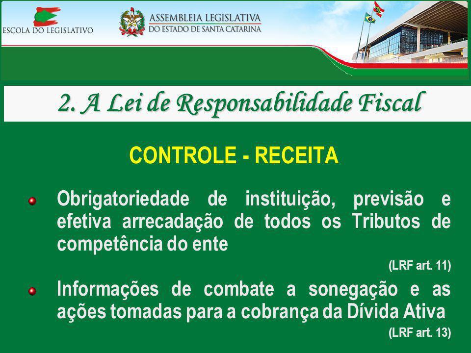 CONTROLE - RECEITA Obrigatoriedade de instituição, previsão e efetiva arrecadação de todos os Tributos de competência do ente (LRF art. 11) Informaçõe