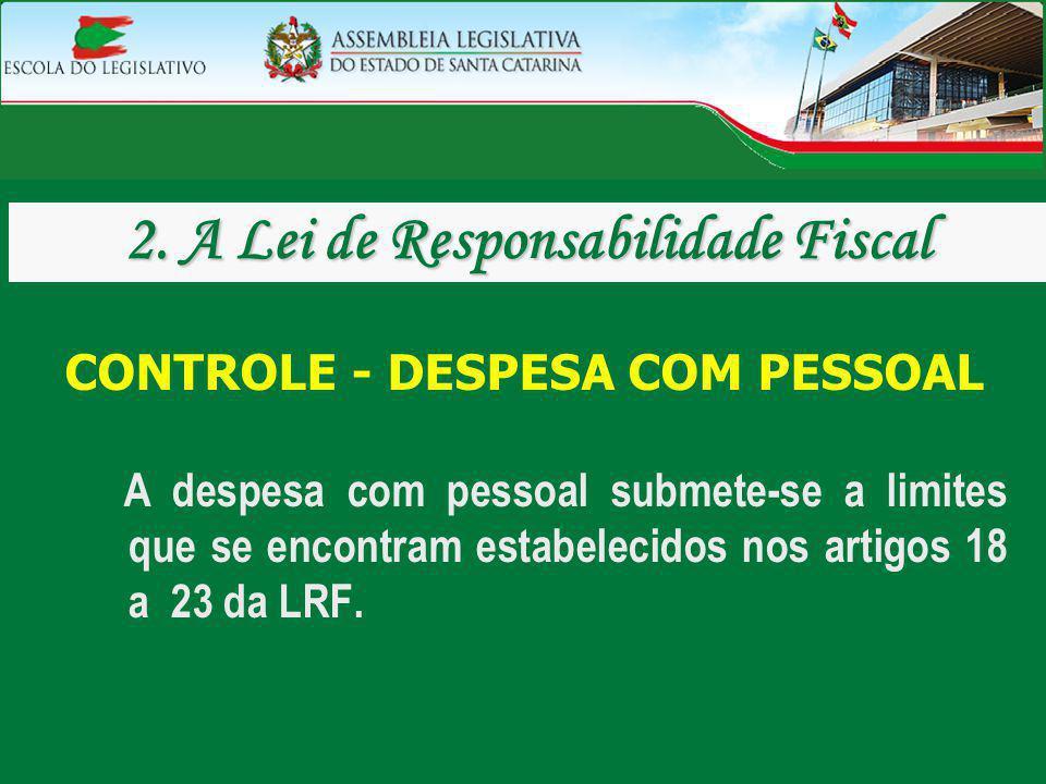 CONTROLE - DESPESA COM PESSOAL A despesa com pessoal submete-se a limites que se encontram estabelecidos nos artigos 18 a 23 da LRF. 2. A Lei de Respo