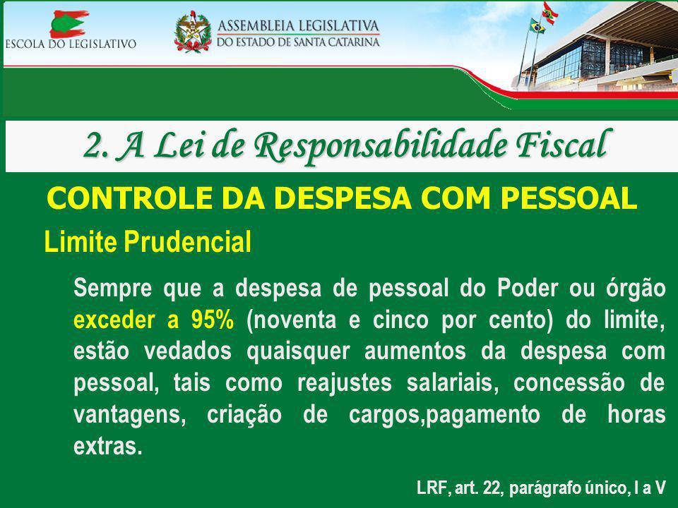 CONTROLE DA DESPESA COM PESSOAL Limite Prudencial Sempre que a despesa de pessoal do Poder ou órgão exceder a 95% (noventa e cinco por cento) do limit