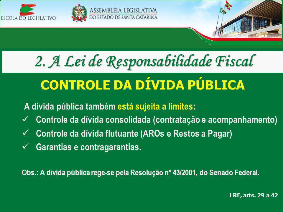CONTROLE DA DÍVIDA PÚBLICA A dívida pública também está sujeita a limites: Controle da dívida consolidada (contratação e acompanhamento) Controle da d