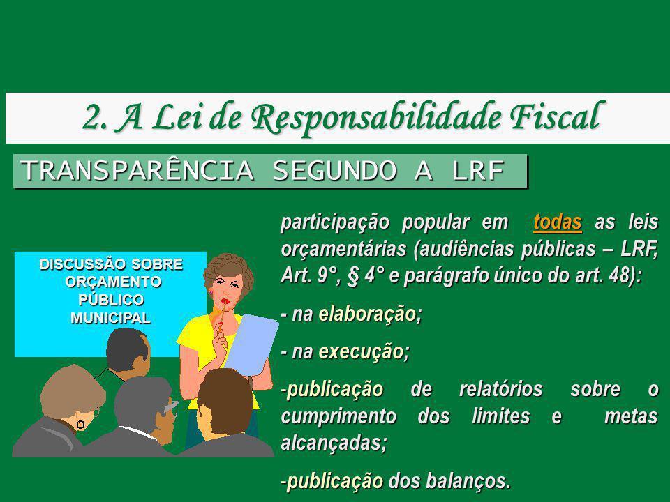 TRANSPARÊNCIA SEGUNDO A LRF participação popular em todas as leis orçamentárias (audiências públicas – LRF, Art. 9°, § 4° e parágrafo único do art. 48