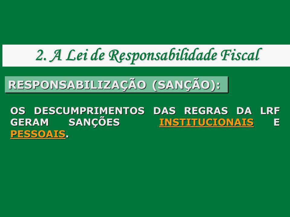 OS DESCUMPRIMENTOS DAS REGRAS DA LRF GERAM SANÇÕES INSTITUCIONAIS E PESSOAIS. RESPONSABILIZAÇÃO (SANÇÃO): 2. A Lei de Responsabilidade Fiscal