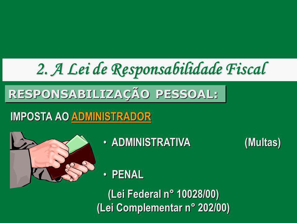 IMPOSTA AO ADMINISTRADOR ADMINISTRATIVA (Multas) ADMINISTRATIVA........... (Multas) PENAL PENAL (Lei Federal n° 10028/00) (Lei Complementar n° 202/00)