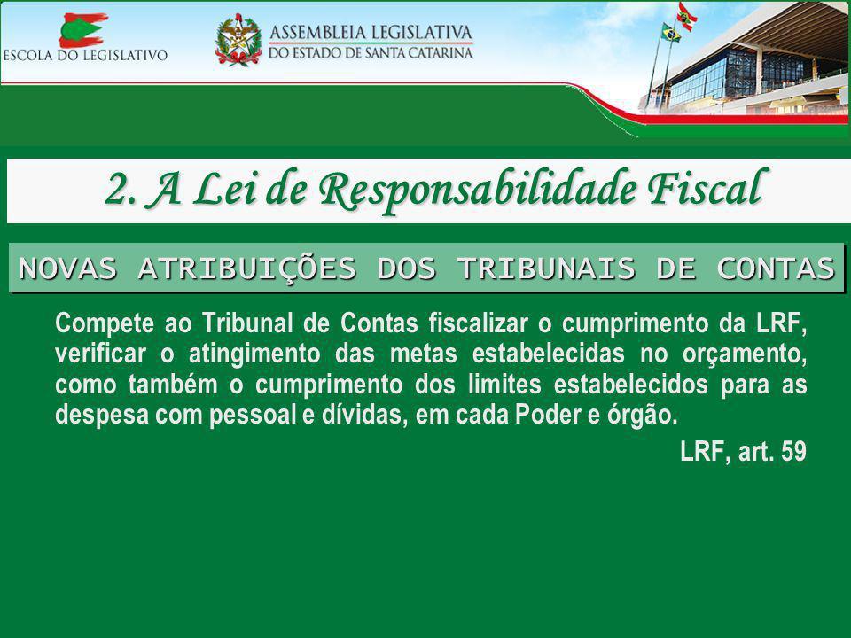 Compete ao Tribunal de Contas fiscalizar o cumprimento da LRF, verificar o atingimento das metas estabelecidas no orçamento, como também o cumprimento
