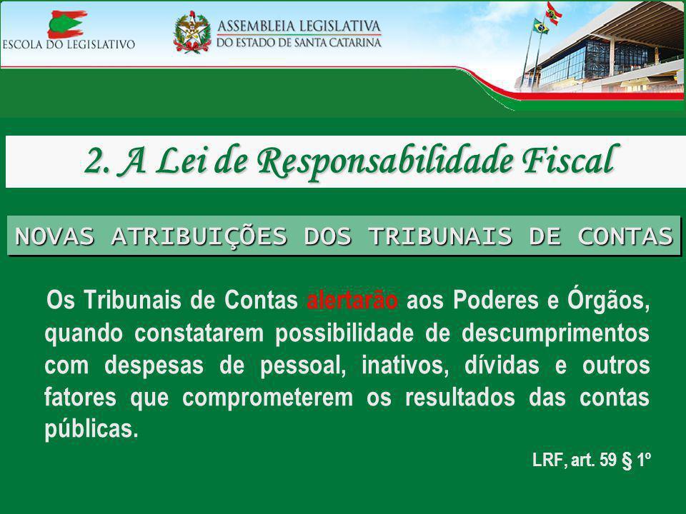 Os Tribunais de Contas alertarão aos Poderes e Órgãos, quando constatarem possibilidade de descumprimentos com despesas de pessoal, inativos, dívidas