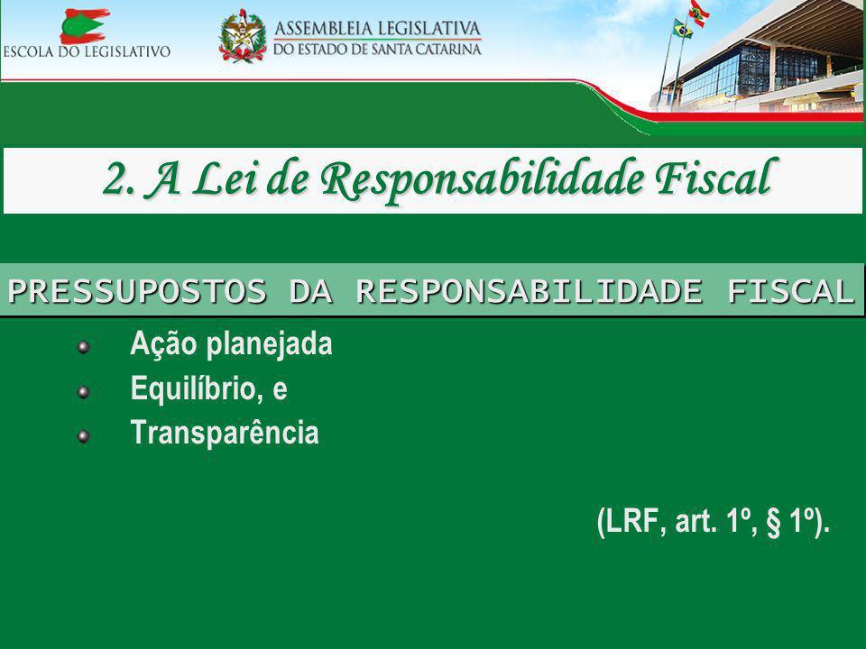 PRESSUPOSTOS DA RESPONSABILIDADE FISCAL Ação planejada Equilíbrio, e Transparência (LRF, art. 1º, § 1º).