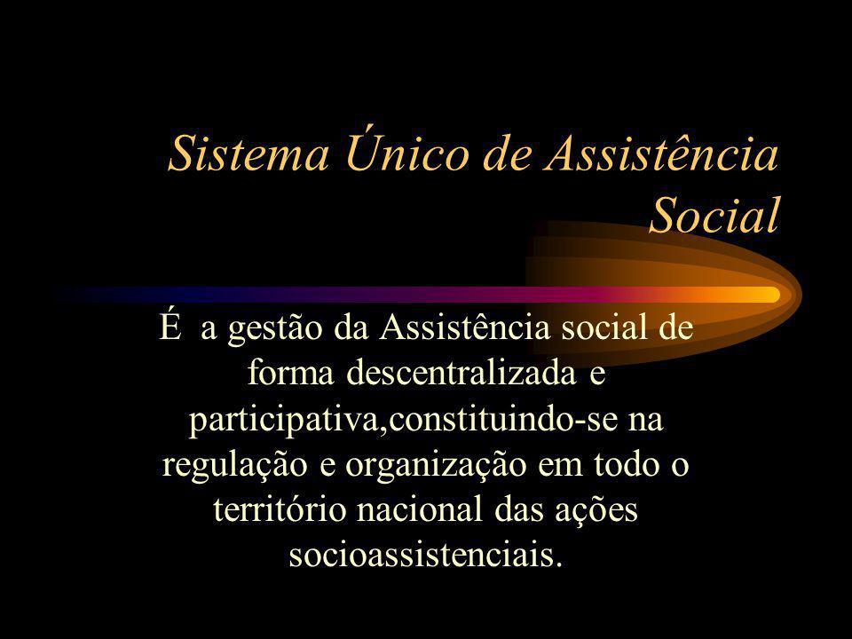 Sistema Único de Assistência Social É a gestão da Assistência social de forma descentralizada e participativa,constituindo-se na regulação e organizaç