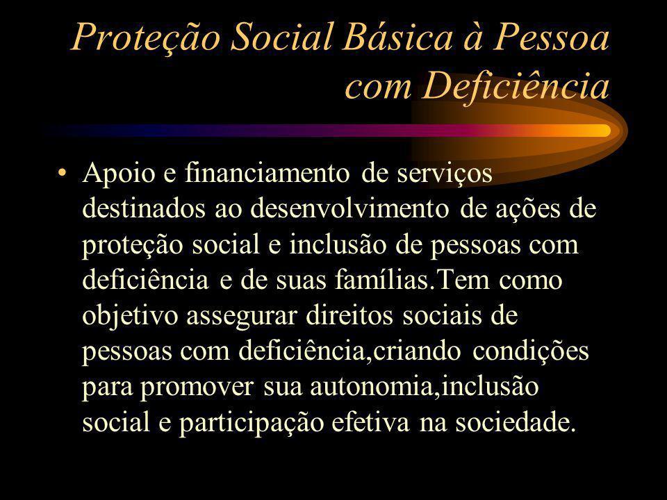 Proteção Social Básica à Pessoa com Deficiência Apoio e financiamento de serviços destinados ao desenvolvimento de ações de proteção social e inclusão