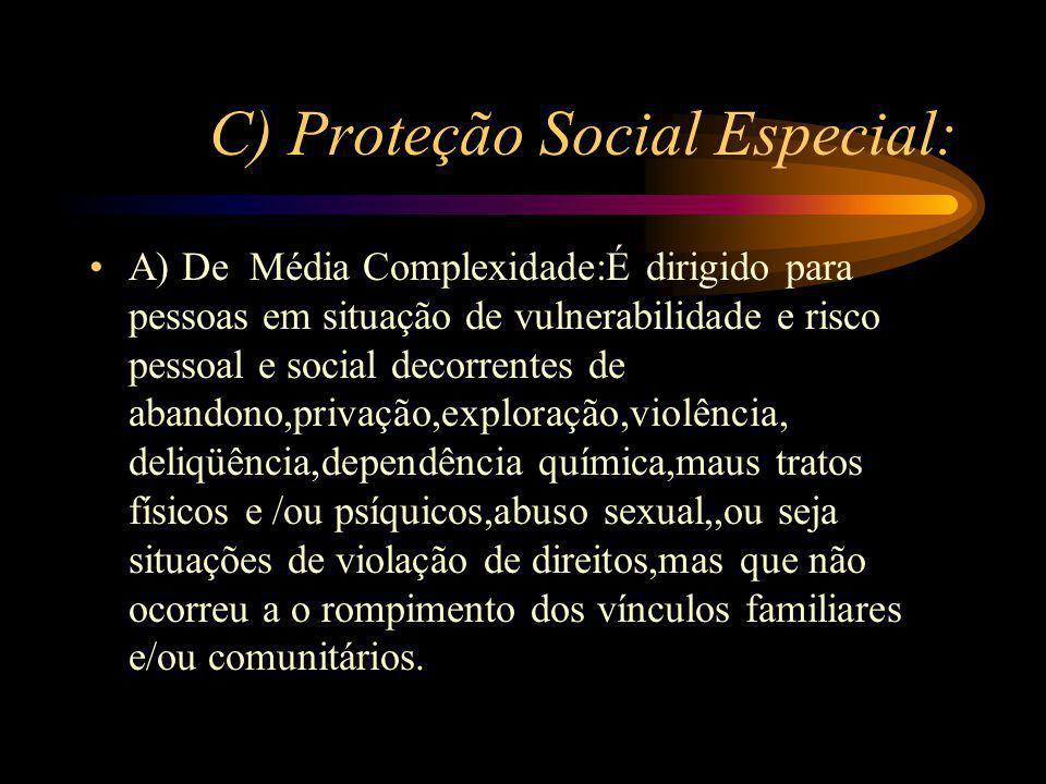 C) Proteção Social Especial: A) De Média Complexidade:É dirigido para pessoas em situação de vulnerabilidade e risco pessoal e social decorrentes de a