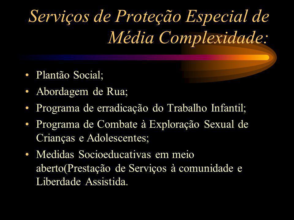 Serviços de Proteção Especial de Média Complexidade: Plantão Social; Abordagem de Rua; Programa de erradicação do Trabalho Infantil; Programa de Comba