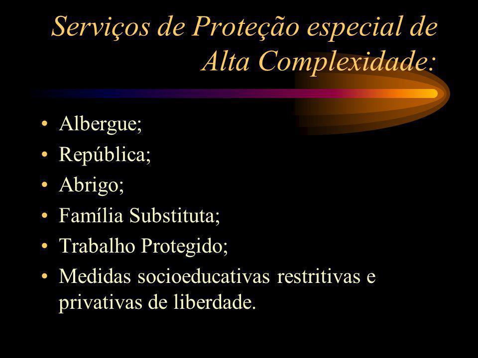 Serviços de Proteção especial de Alta Complexidade: Albergue; República; Abrigo; Família Substituta; Trabalho Protegido; Medidas socioeducativas restr