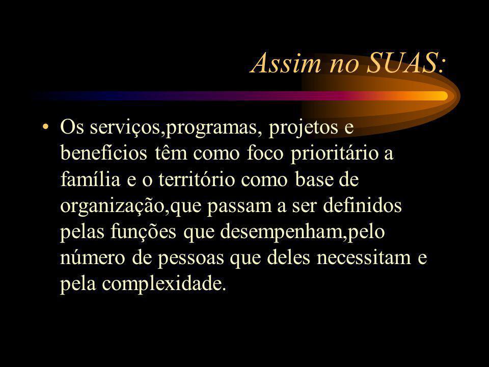 Assim no SUAS: Os serviços,programas, projetos e benefícios têm como foco prioritário a família e o território como base de organização,que passam a s