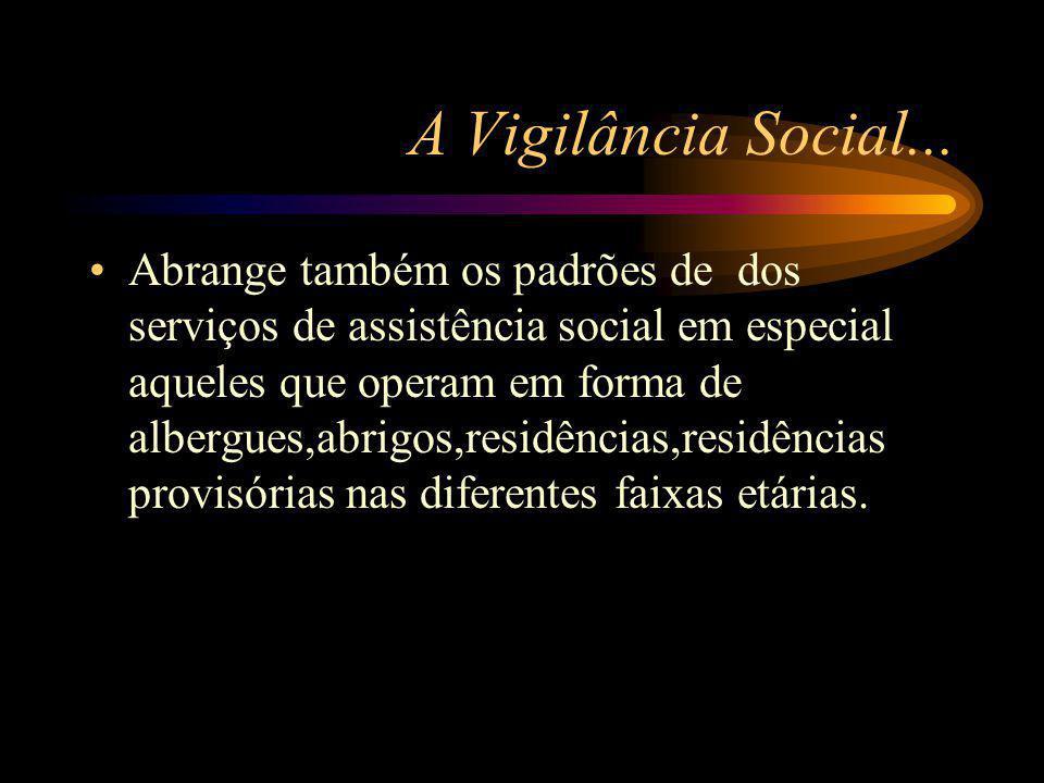 A Vigilância Social... Abrange também os padrões de dos serviços de assistência social em especial aqueles que operam em forma de albergues,abrigos,re