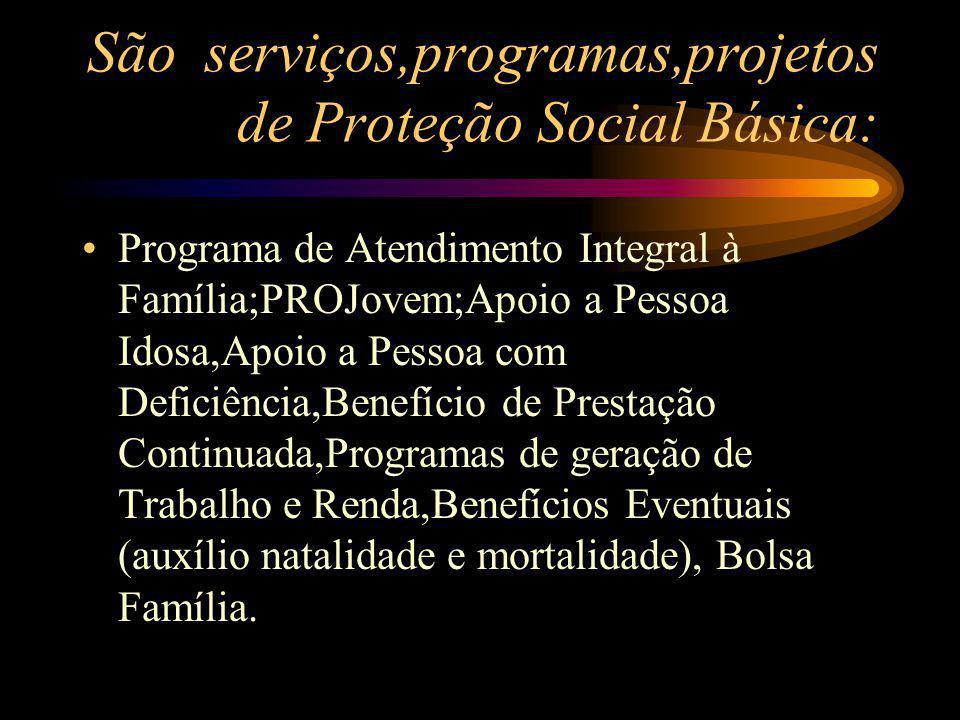 São serviços,programas,projetos de Proteção Social Básica: Programa de Atendimento Integral à Família;PROJovem;Apoio a Pessoa Idosa,Apoio a Pessoa com