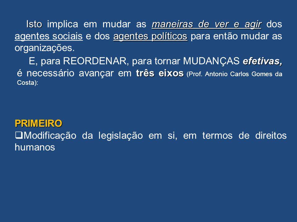 efetivas, três eixos E, para REORDENAR, para tornar MUDANÇAS efetivas, é necessário avançar em três eixos (Prof. Antonio Carlos Gomes da Costa): PRIME