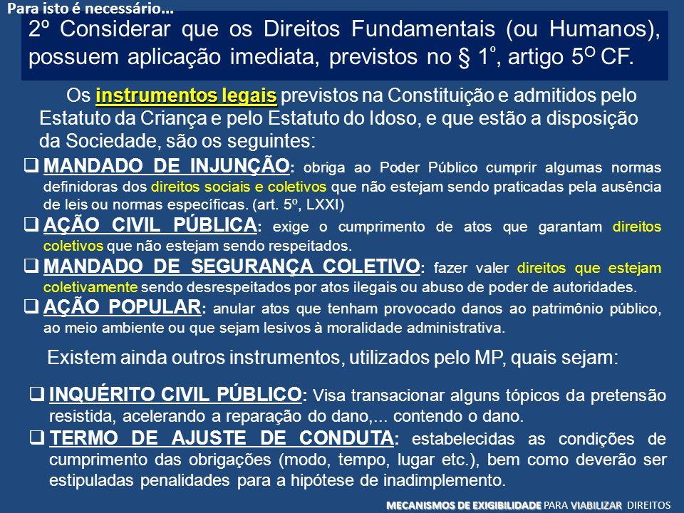 2º Considerar que os Direitos Fundamentais (ou Humanos), possuem aplicação imediata, previstos no § 1 º, artigo 5 O CF. instrumentos legais Os instrum