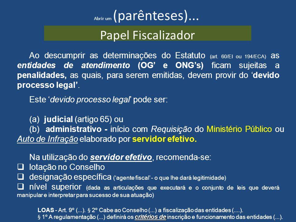 Abrir um (parênteses)... Papel Fiscalizador Ao descumprir as determinações do Estatuto (art. 60/EI ou 194/ECA) as entidades de atendimento (OG e ONGs)