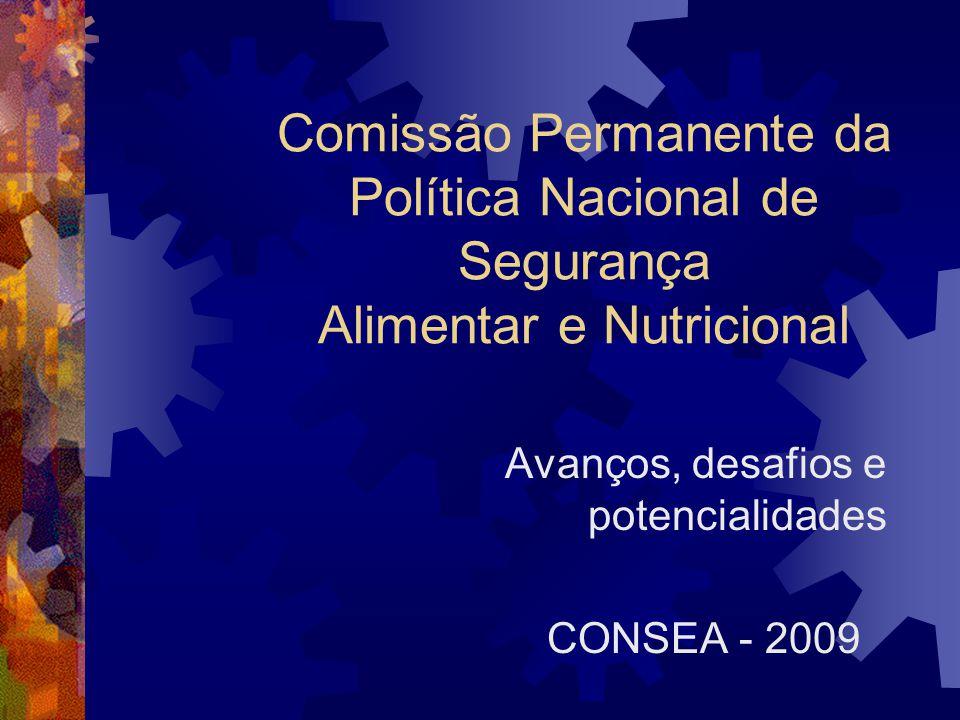 Comissão Permanente da Política Nacional de Segurança Alimentar e Nutricional Avanços, desafios e potencialidades CONSEA - 2009