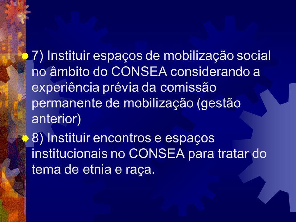 7) Instituir espaços de mobilização social no âmbito do CONSEA considerando a experiência prévia da comissão permanente de mobilização (gestão anterio