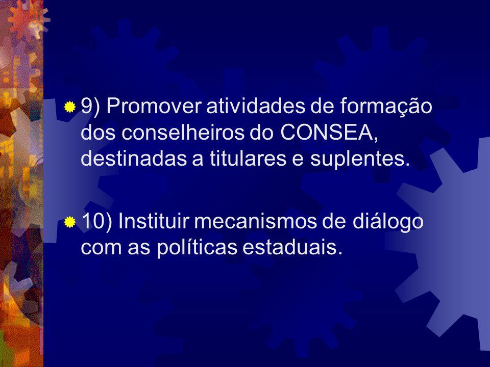 9) Promover atividades de formação dos conselheiros do CONSEA, destinadas a titulares e suplentes. 10) Instituir mecanismos de diálogo com as política