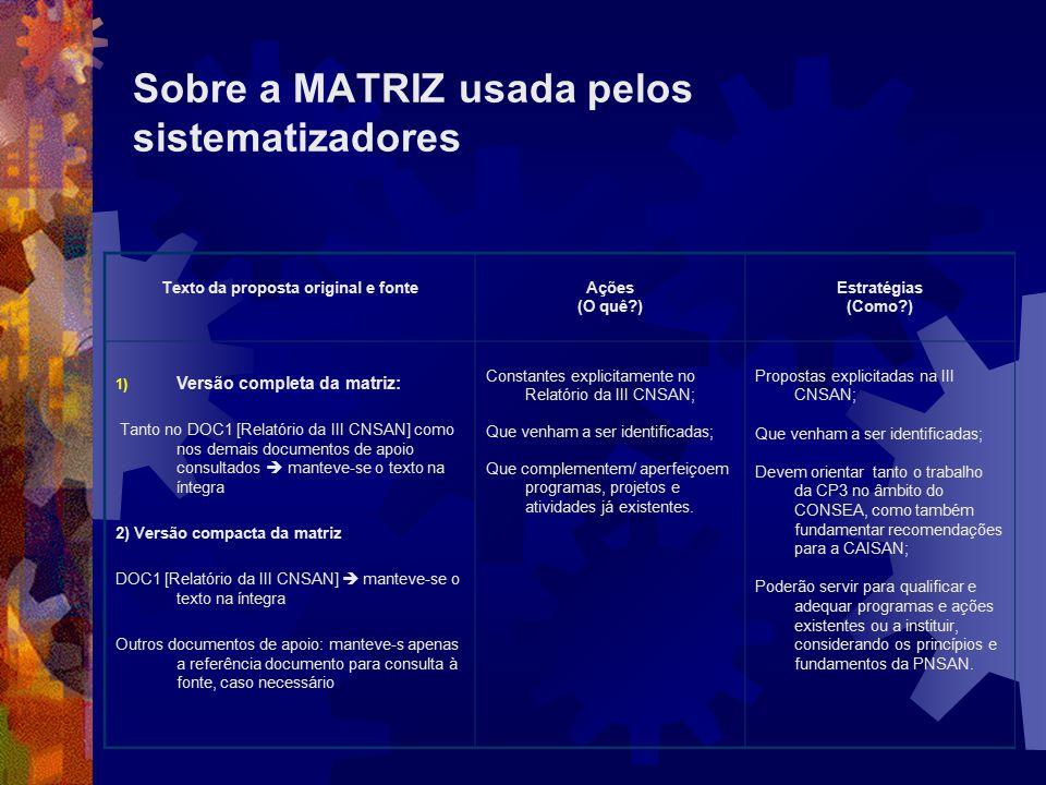 Sobre a MATRIZ usada pelos sistematizadores Texto da proposta original e fonteAções (O quê?) Estratégias (Como?) 1) Versão completa da matriz: Tanto n