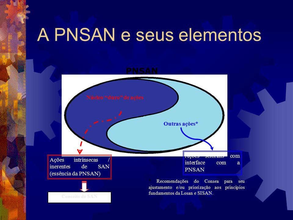 A PNSAN e seus elementos PNSAN Núcleo duro de ações Outras ações* Ações intrínsecas / inerentes de SAN (essência da PNSAN) Ações setoriais com interfa