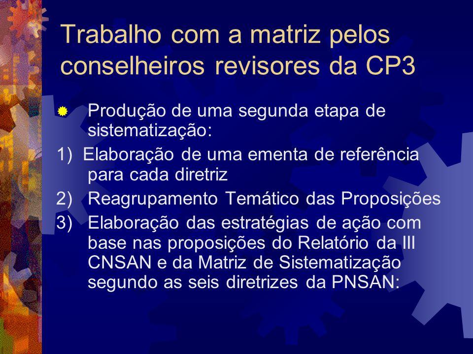 Trabalho com a matriz pelos conselheiros revisores da CP3 Produção de uma segunda etapa de sistematização: 1) Elaboração de uma ementa de referência p