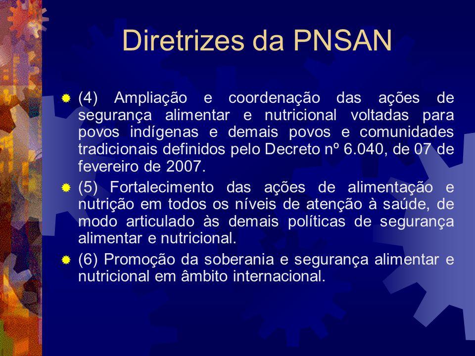 Diretrizes da PNSAN (4) Ampliação e coordenação das ações de segurança alimentar e nutricional voltadas para povos indígenas e demais povos e comunida