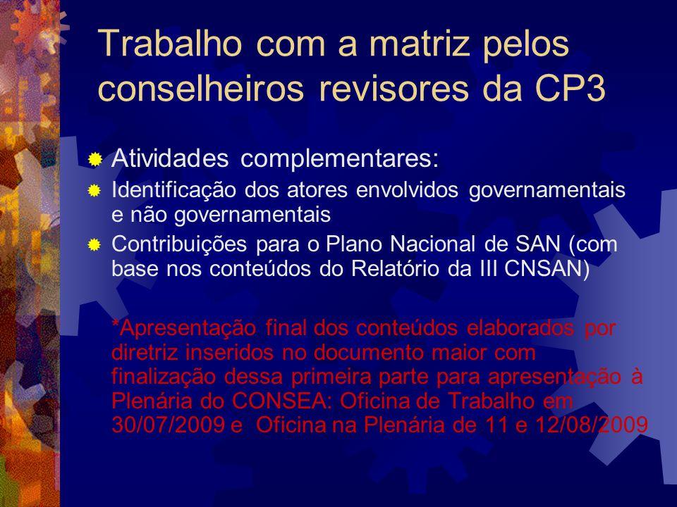 Trabalho com a matriz pelos conselheiros revisores da CP3 Atividades complementares: Identificação dos atores envolvidos governamentais e não governam