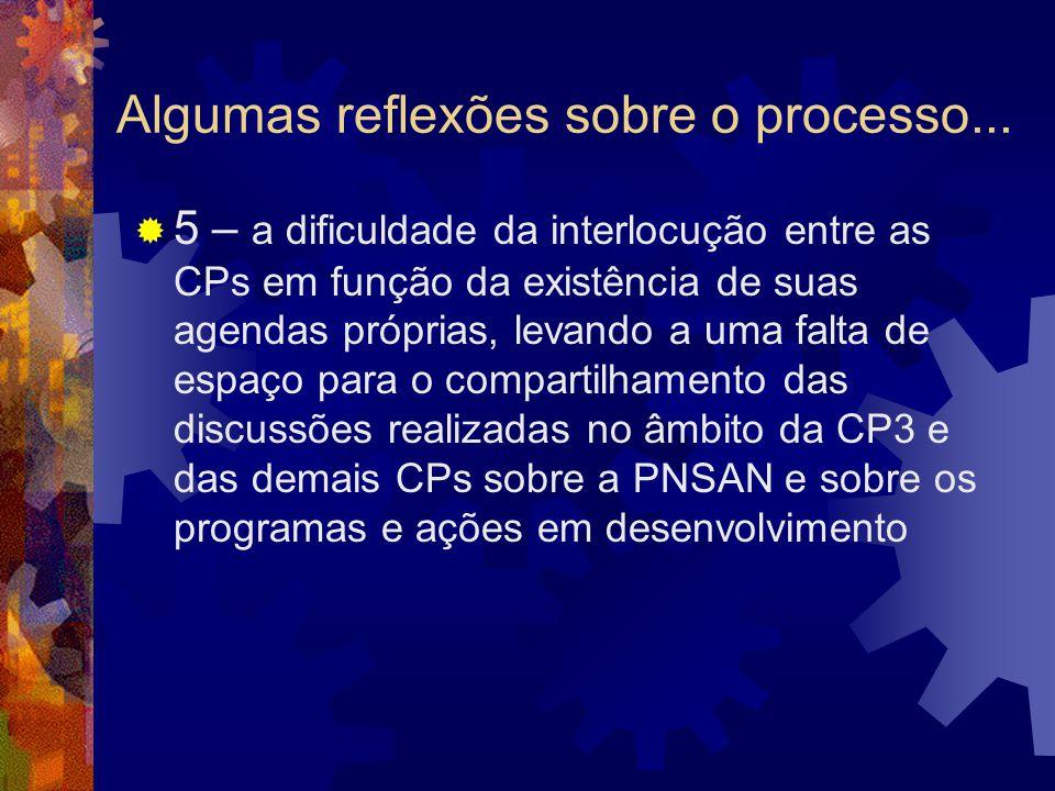 Algumas reflexões sobre o processo... 5 – a dificuldade da interlocução entre as CPs em função da existência de suas agendas próprias, levando a uma f