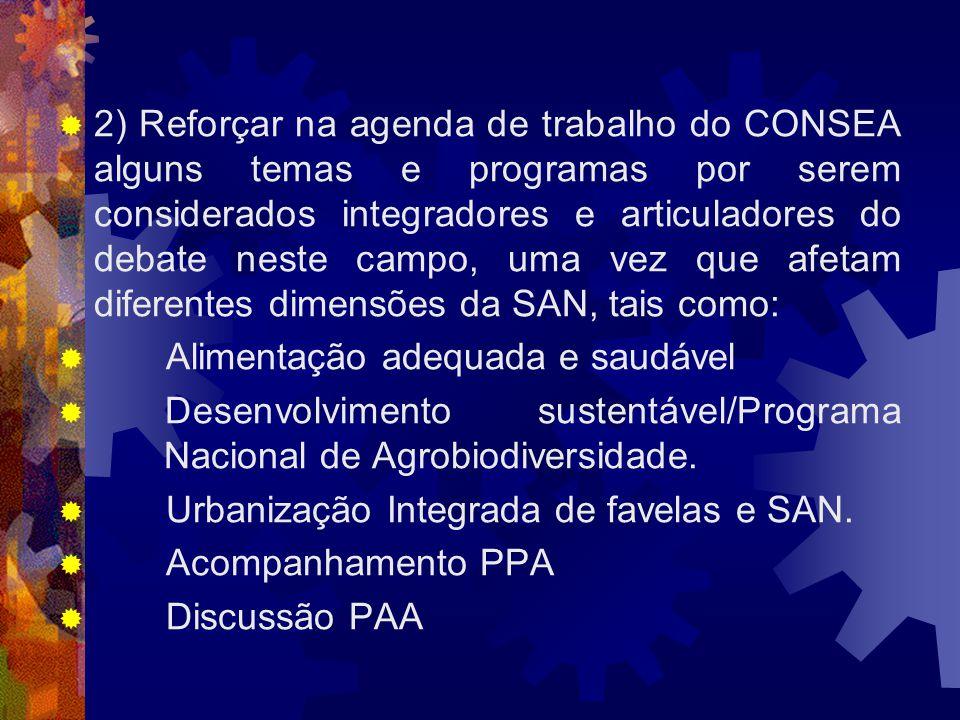 2) Reforçar na agenda de trabalho do CONSEA alguns temas e programas por serem considerados integradores e articuladores do debate neste campo, uma ve