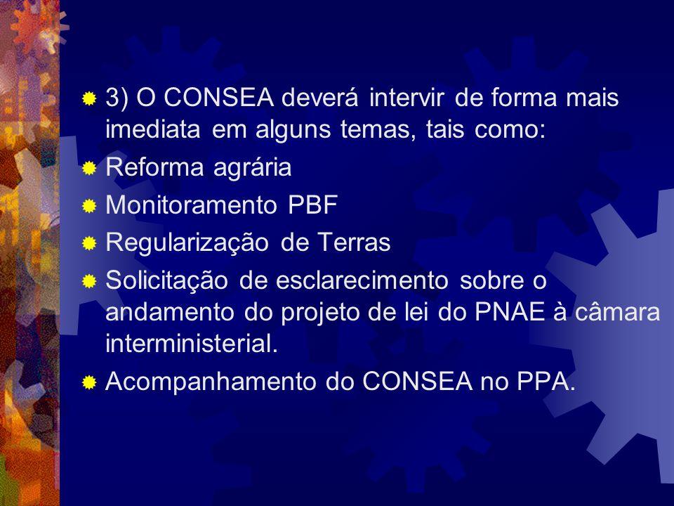 3) O CONSEA deverá intervir de forma mais imediata em alguns temas, tais como: Reforma agrária Monitoramento PBF Regularização de Terras Solicitação d