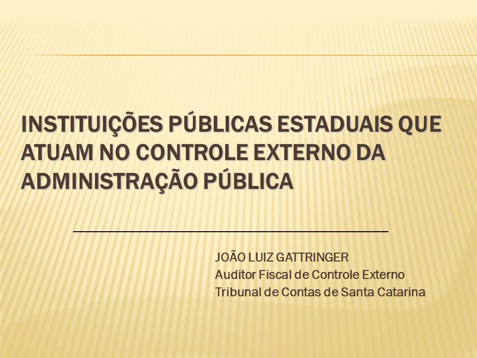 O TRIBUNAL DE CONTAS DE SANTA CATARINA: COMPETÊNCIAS, FUNÇÕES, ESTRUTURA E ATUAÇÃO JOÃO LUIZ GATTRINGER Auditor Fiscal de Controle Externo Tribunal de Contas de Santa Catarina